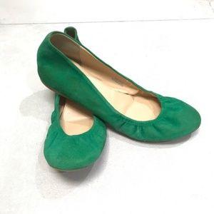 JCrew Italian Suede Ballet Flats Green